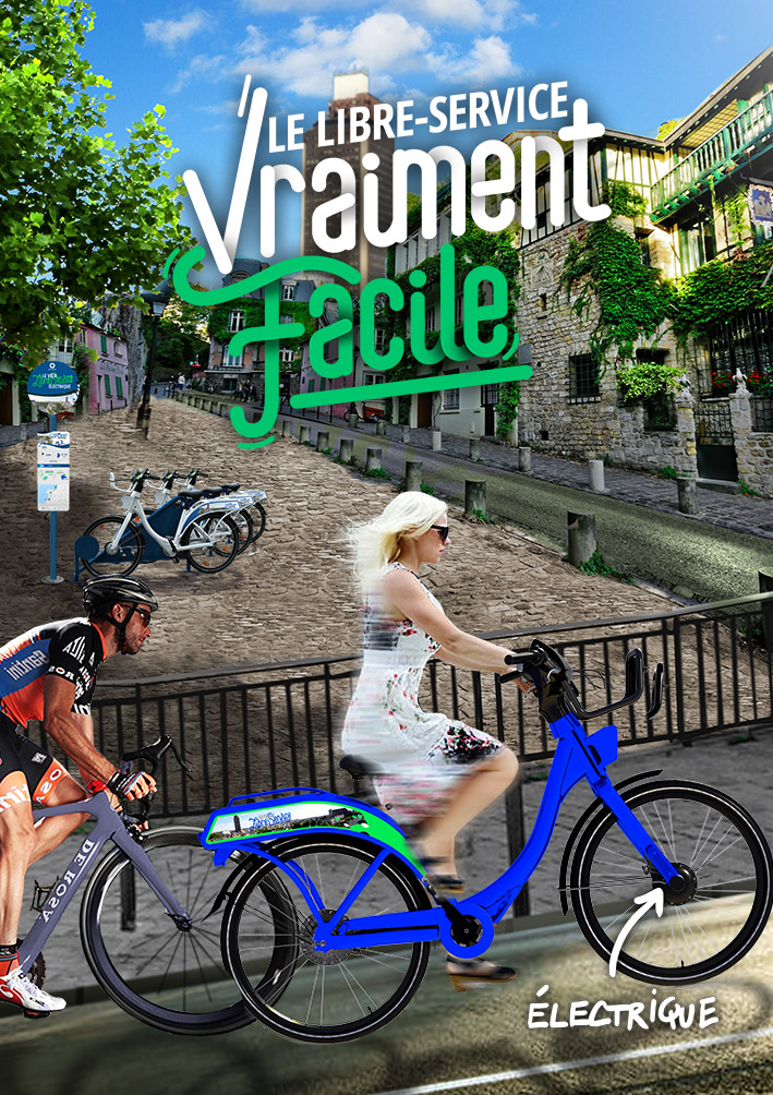 Vélo libre service électrique et pratique