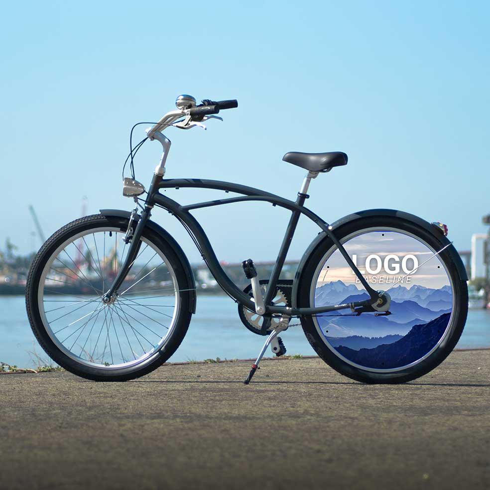 Vélo de fonction Cruiser homme. 1 roue arrière lenticulaire aux couleurs de votre entreprise. Roue pleine pour une communication efficace