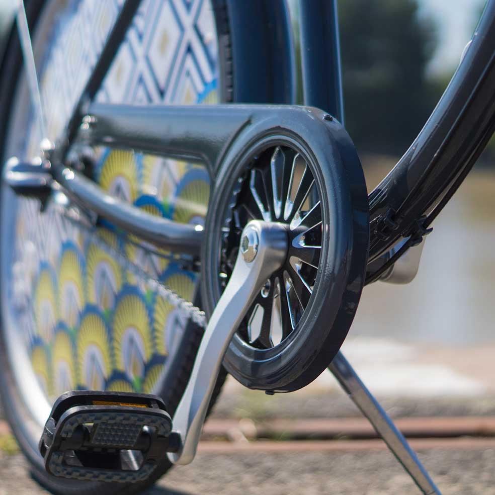 Pédalier du vélo de ville Cruiser. Pour une conduite fluide, efficace et confortable. Pour des trajets en ville tout en simplicité