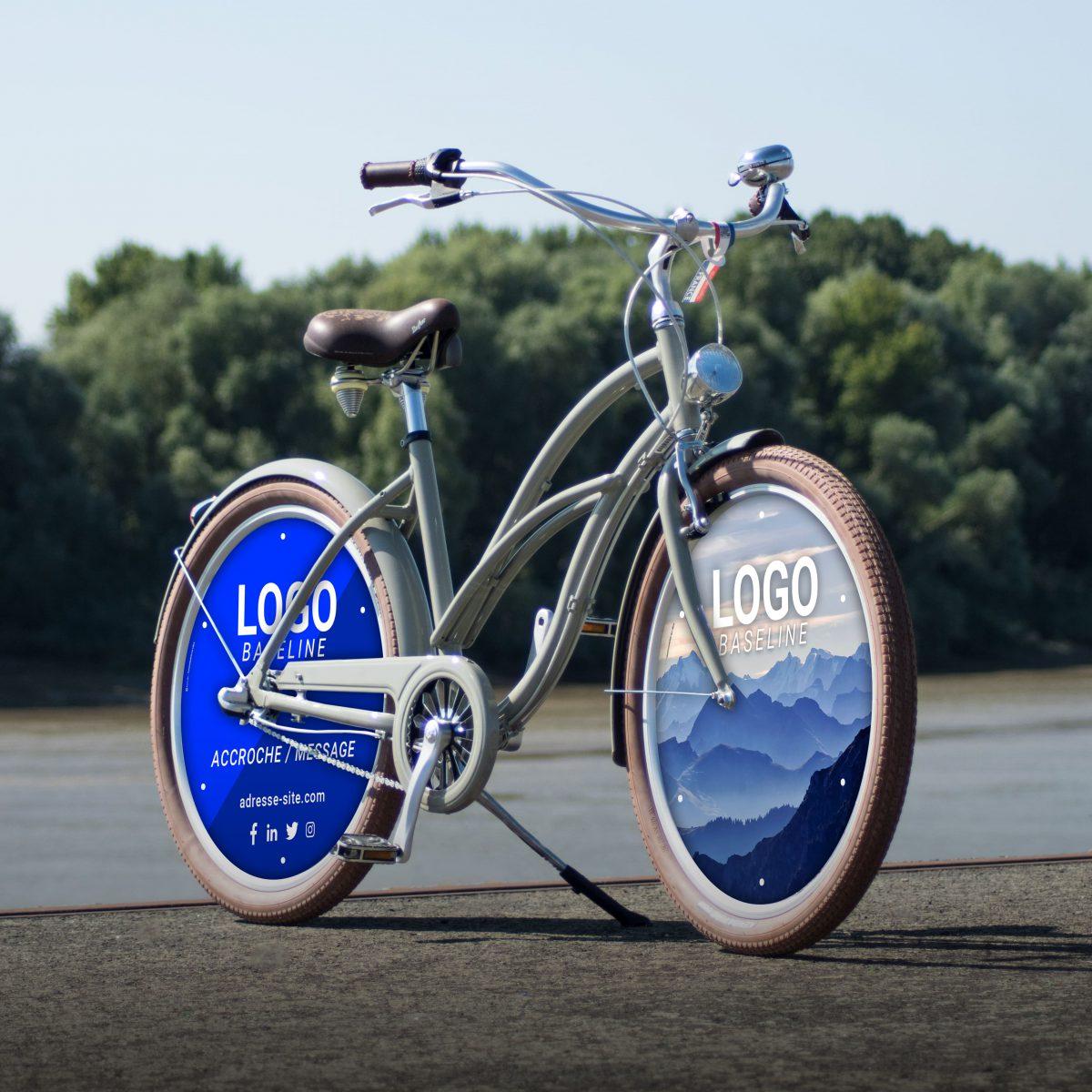 Vélo de fonction Cruiser mixter avec 2 enjoliveurs. Deux roues pleines aux couleurs de votre entreprise pour favoriser le vélotaf auprès de vos salariés