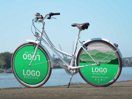 Vélo de fonction Coffee Mixte Ecovelo 2 enjoliveurs roues pleines. Vélotaf, deux roues lenticulaires aux logos et couleurs de votre entreprise