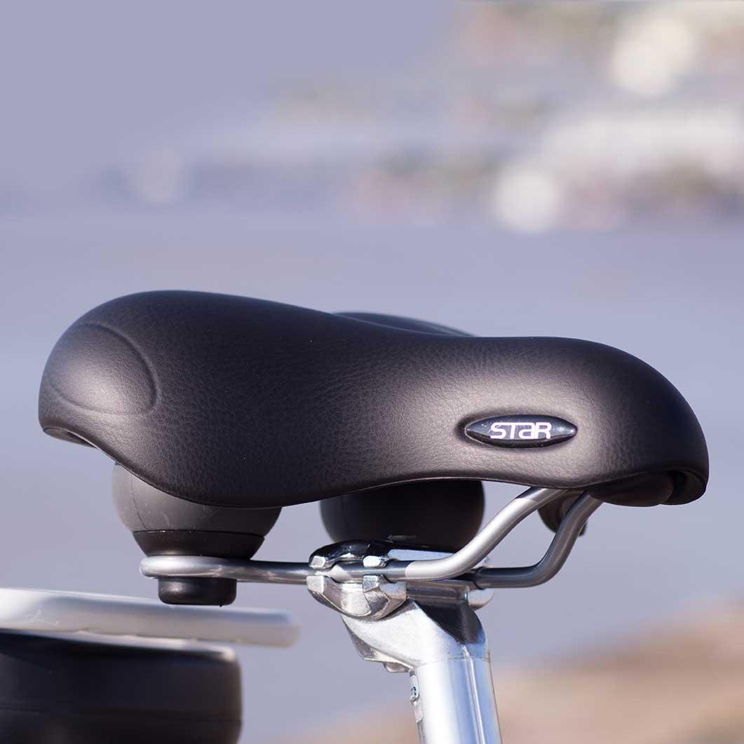 Avec sa selle à assise droite, ce vélo à assistance électrique E-Colors est très confortable. Il vous permettra d'avaler les kilomètres de manière redoutable