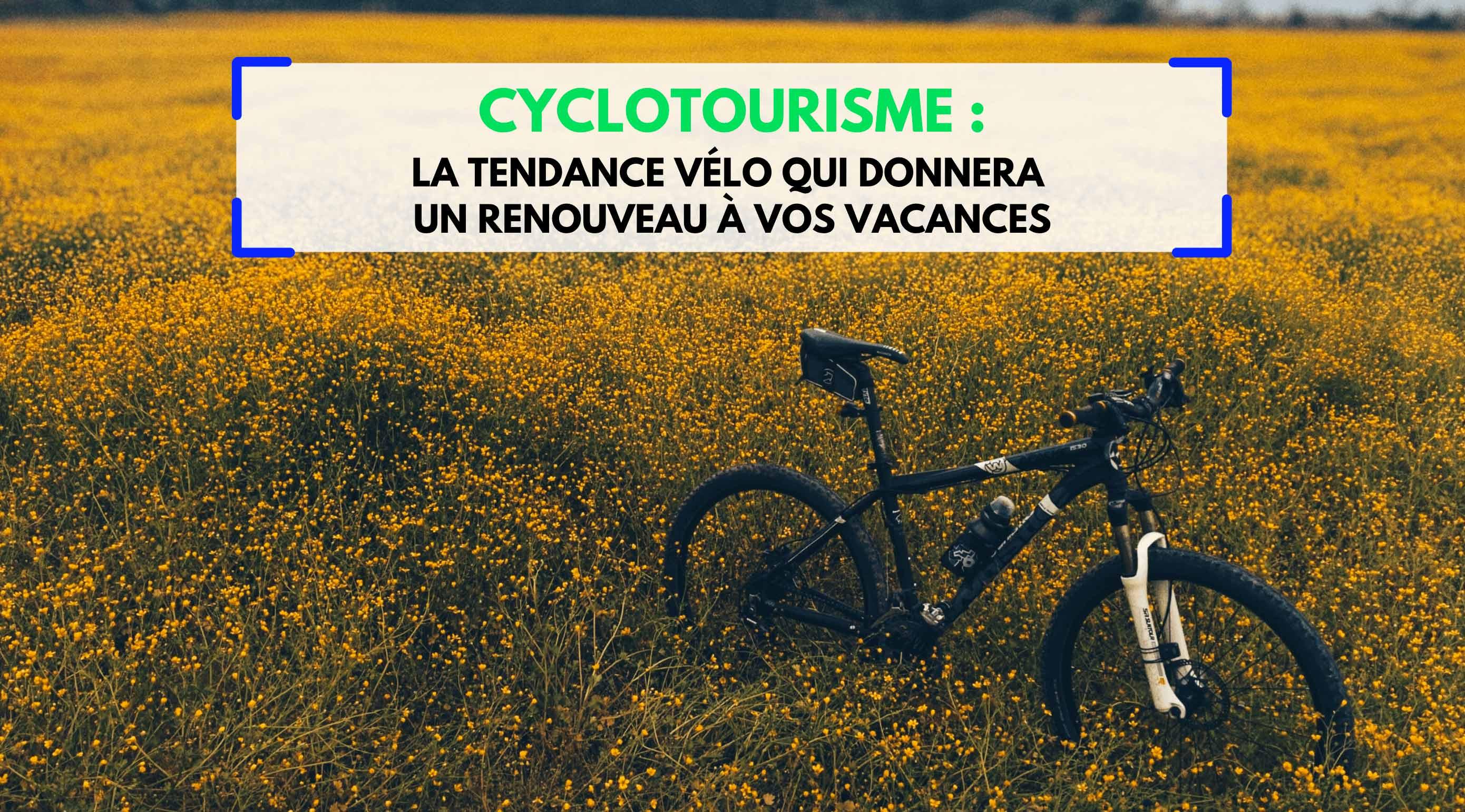 """champ de fleurs jaune avec VTT au milieu, avec un titre """"Cyclotourisme, la tendance vélo qui donnera un renouveau à vos vacances"""""""