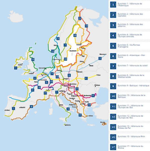carte des veloroutes eurovelo européenne
